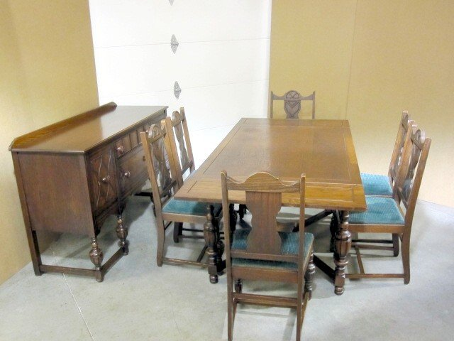 Antique dining set buffet server table 6 chairs for for Ensemble table buffet