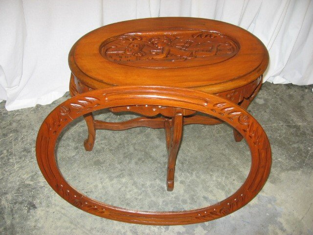 Nice antique glass top walnut tea serving coffee table for for Glass tea table price