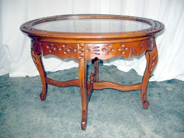 Nice Antique Glass Top Walnut Tea Serving Coffee Table For