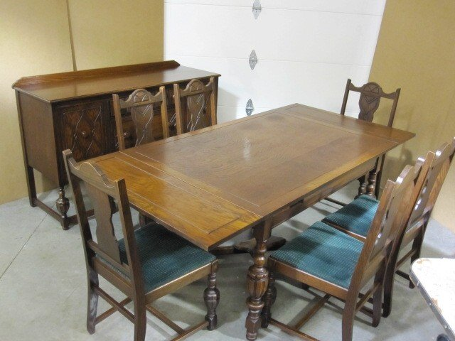 Antique Dining Set   Buffet Server   Table   6 Chairs   For Sale