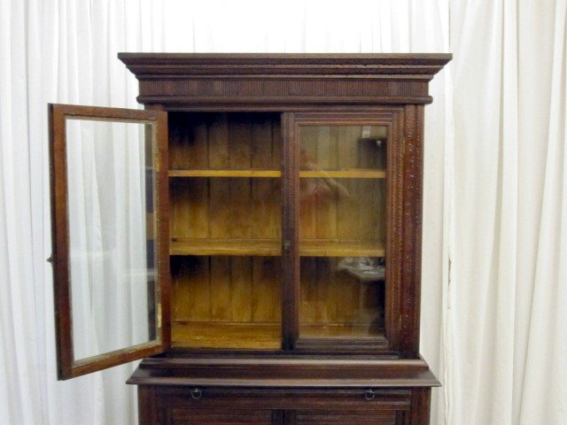 We Have For Sale A Mission Arts U0026 Crafts Kitchen Stepback China Cabinet Or  Hutch. The Dark Walnut Two Piece Hutch Is In Great Condition.