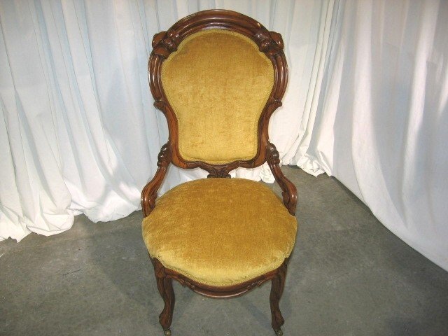 1800u0027s Carved Walnut Victorian Parlor Chair With Rollers   For Sale