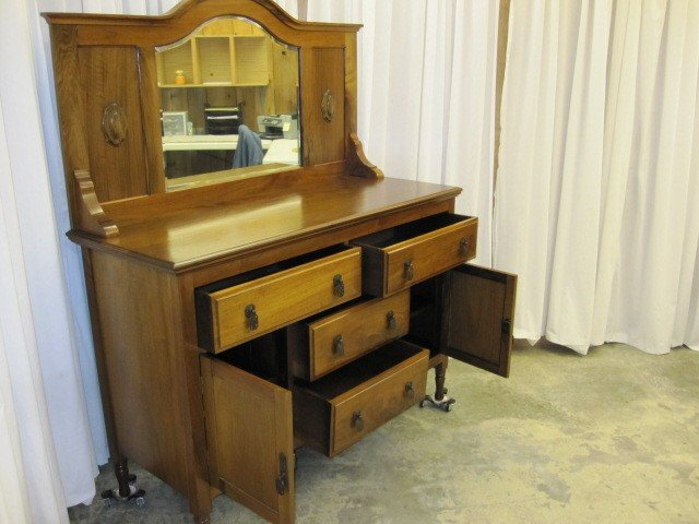 1900s Walnut Beveled Mirror Back Sideboard From Ireland For Sale Antiques com Classifieds