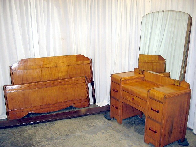 Waterfall standard size bed and dresser with mirror for for Bed and dresser for sale