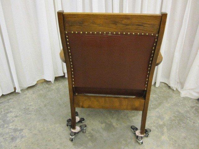 antique mission arts crafts oak upholstered chair for