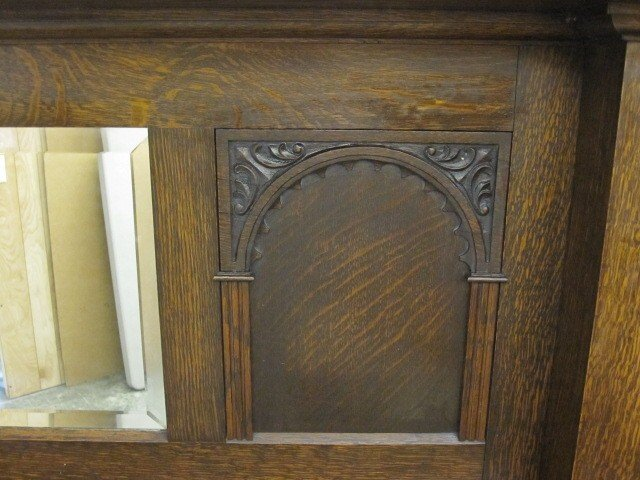 1920 S Oak Fireplace Mantel Bevel Mirror From England For