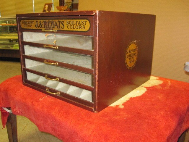 Antique StoreDisplay J & P Coats 5 Drawer Spool Cabinet For Sale ...