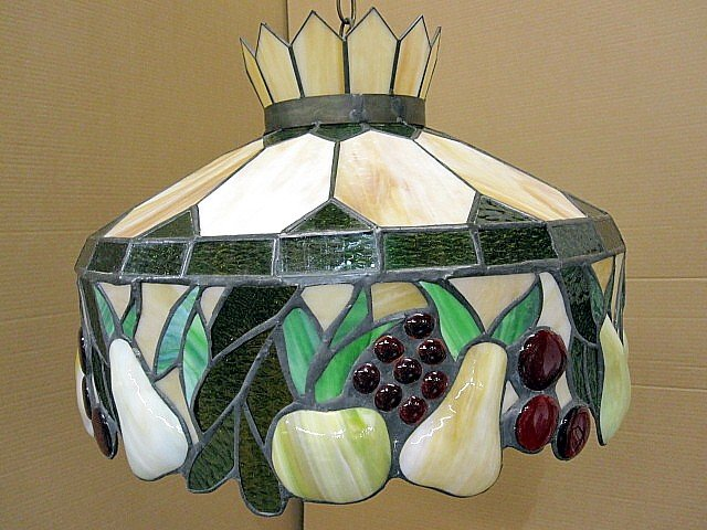 extra nice old lead glass swag lamp shade w fruits for sale. Black Bedroom Furniture Sets. Home Design Ideas