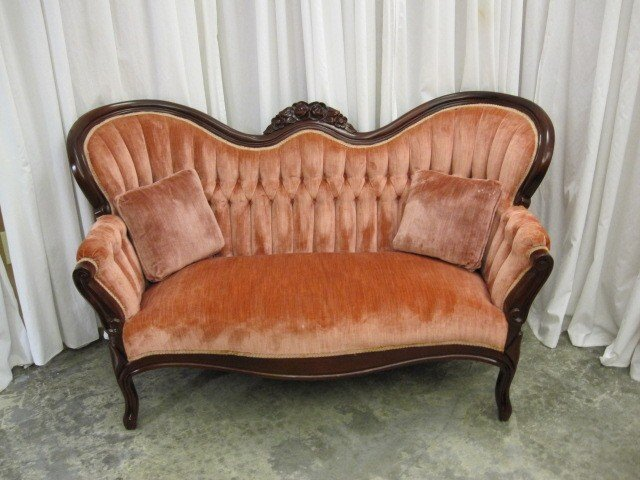 Extra nice mahogany trim victorian style velvet sofa for sale classifieds Antique loveseat styles