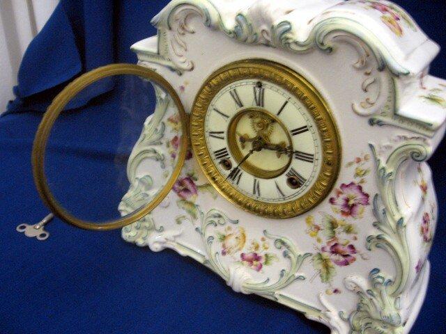 1881 Victorian Porcelain Ansonia Clock Open Escapement For