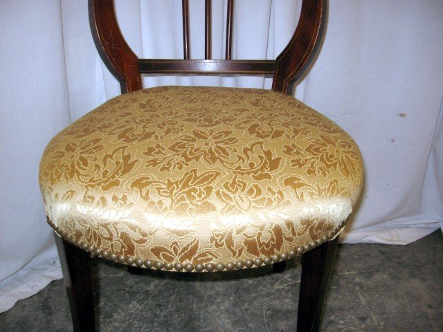 Extra Nice 1920's Rd Lyre Harp Back Upholstered Chair - For Sale - Extra Nice 1920's Rd Lyre Harp Back Upholstered Chair For Sale