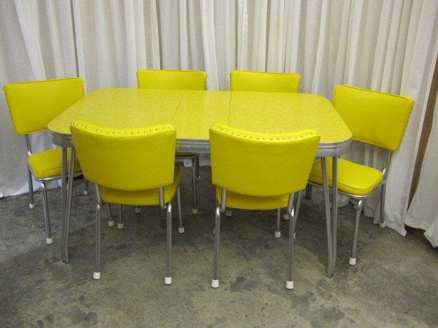 Retro mid century 1950 39 s yellow chrome table 6 chairs for for Table sets for sale