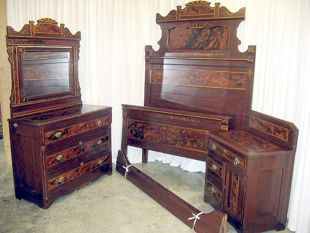 We have for sale a beautiful 3 piece bedroom set  The set consists of a  washstand  dresser with mirror  and a standard size bed  I m not for sure  what kind. 3 Piece 1800 s Pennsylvania Dutch Bed Set For Sale   Antiques com