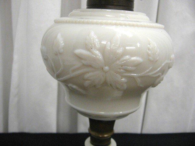 we have for sale an antique milk glass oil or. Black Bedroom Furniture Sets. Home Design Ideas