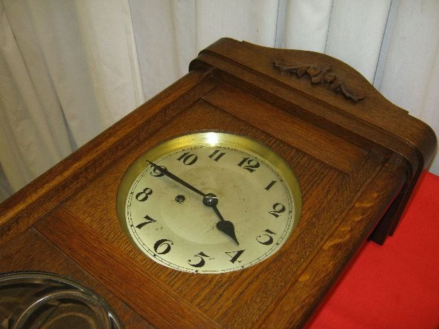1900s Lead GlassHand Carved Wall Clock From Germany For Sale