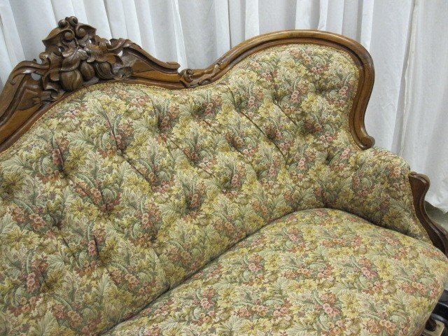 Antique walnut victorian style button tuft sofa chaise for for Antique chaise lounge for sale