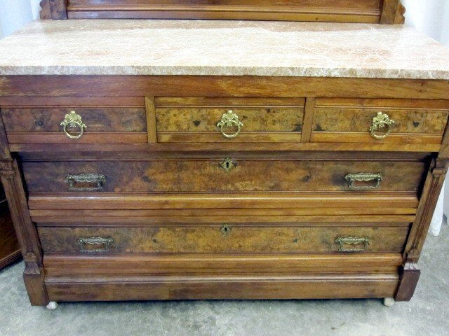 Antique Burl Walnut Bed Marble Top Dresser Washstand For