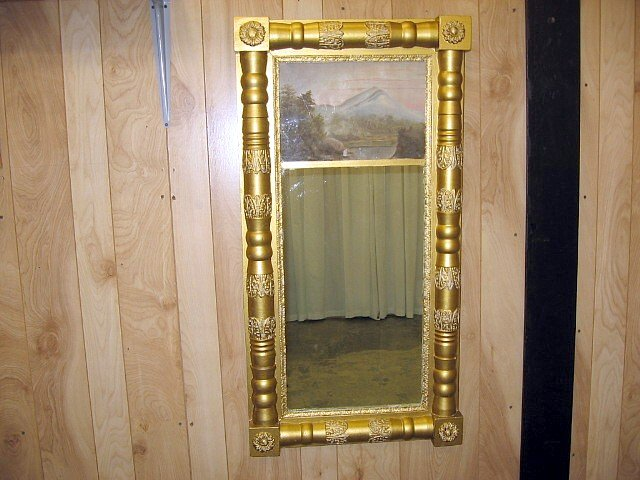 Antique Gild Mirror Oil Painting On Top For Sale