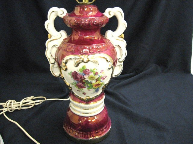 Beautiful Victorian Porcelain Table Lamp Floral Painting Signed   For Sale
