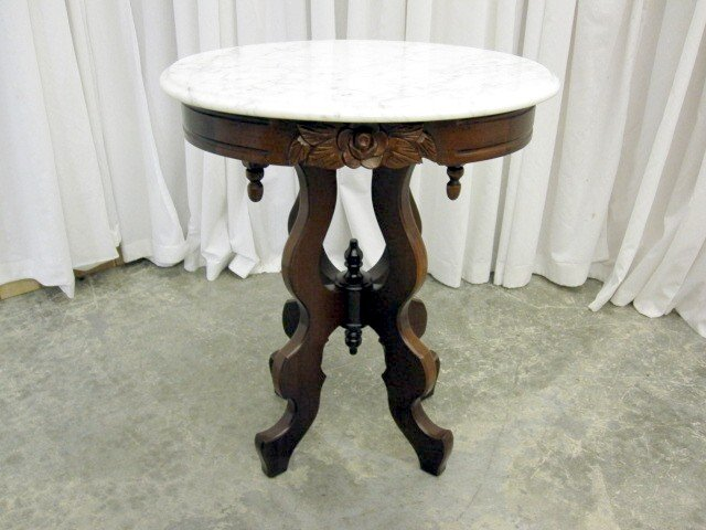 Victorian Style Italian Marble Top Table By Kimball   For Sale