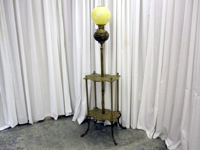 Antique Brass Piano Oil Kerosene Floor Lamp Adjust Pole For Sale ...