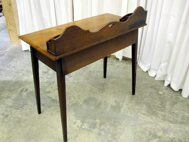 Antique small walnut ladies writing desk w paper slots for