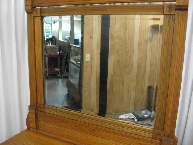 Antique Oak Dresser Beveled Mirror Original Hardware For