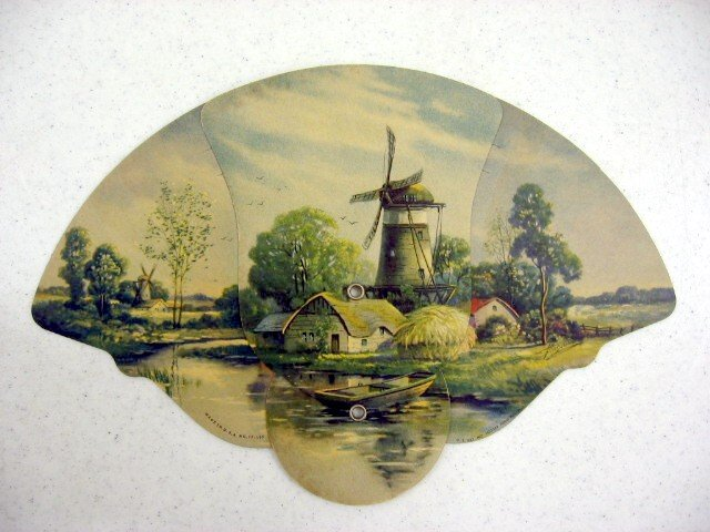 We have for sale a very nice old hand held fan. The fan opens by pulling  apart. The scene is a European farm scene with an artists signature and a  patent ...