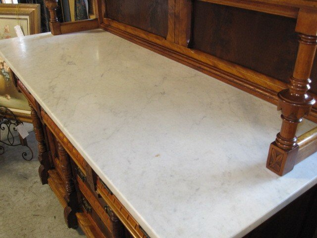 Superbe Antique Etagere Buffet Server Cabinet Marble Top Mirror   For Sale