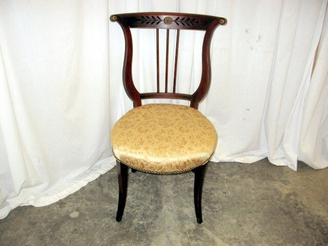 We Have For Sale A Very Nice 1920u0027s Accent Chair. The Chair Has A Round  Upholstered Seat With The Wood Being Mahogany. The Back Is A Lyre Harp  Design With ...