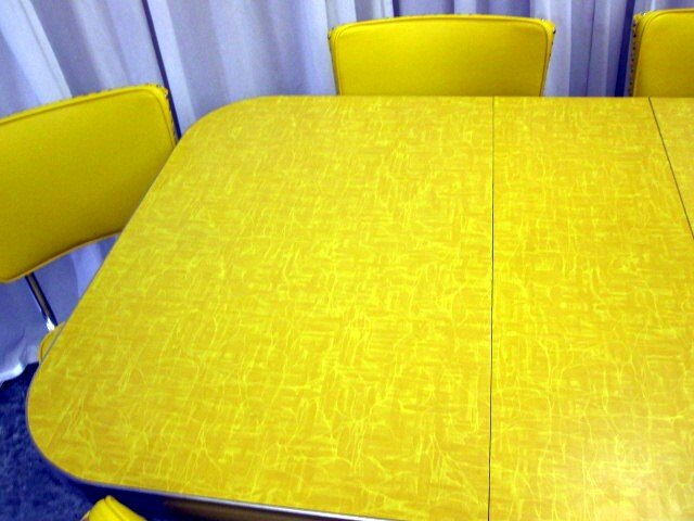 Retro Mid Century 1950u0027s Yellow Chrome Table 6 Chairs   For Sale