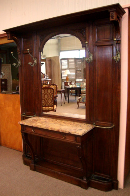 large mirror antique walnut 19th century french antique henri ii style walnut hall tree for