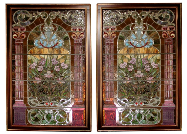 Pair Of Monumental John Lafarge Jeweled Beveled Stained