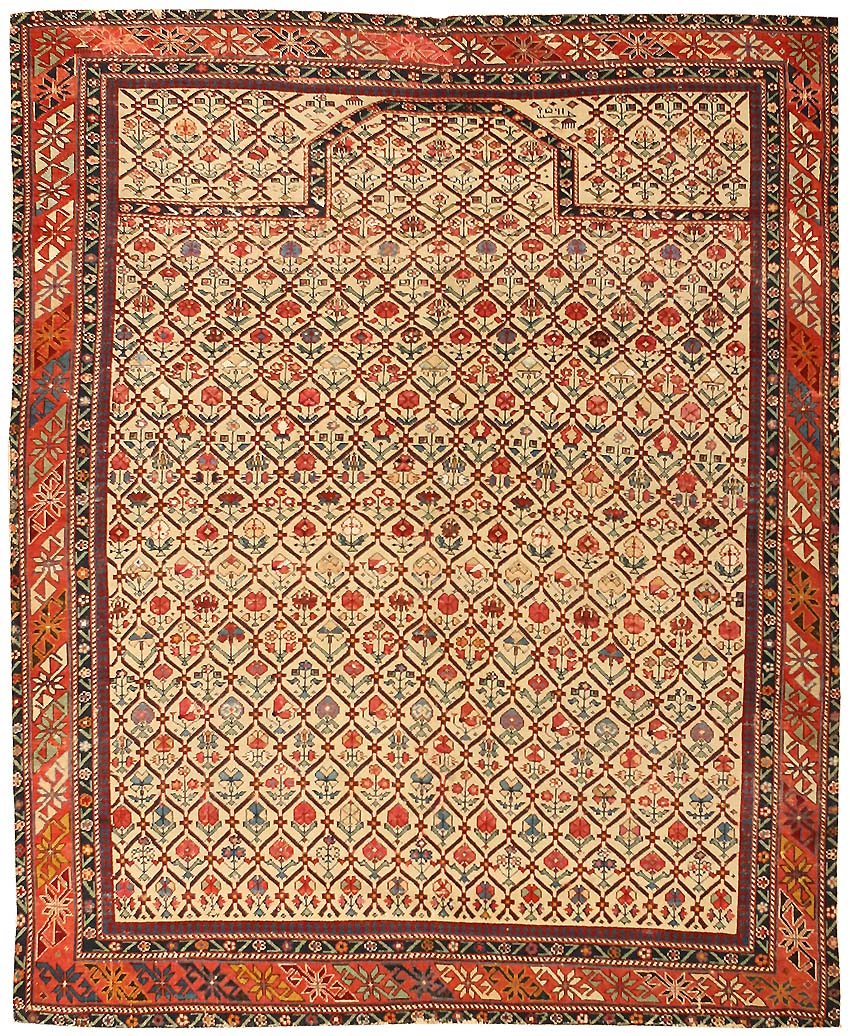 Chinese Rug Dealers: Antique Silk And Wool Dagestan Rug 43907 For Sale