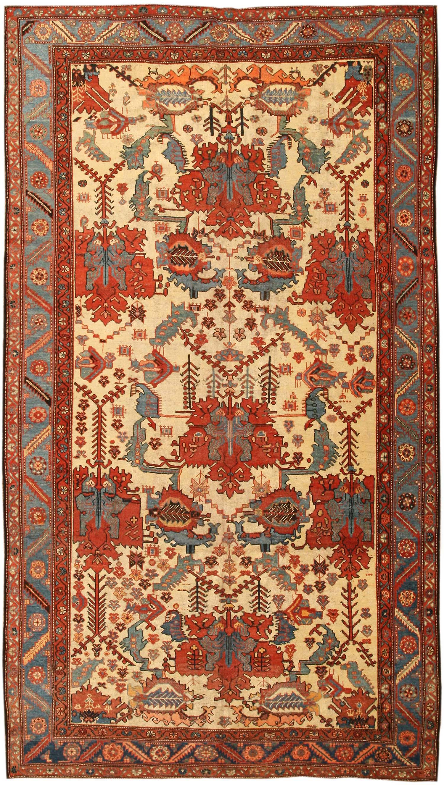 Antique Bakhtiari Persia Late Nineth Century Although Carpets Represent A Village Or Tribal Rug Weaving Tradition Some