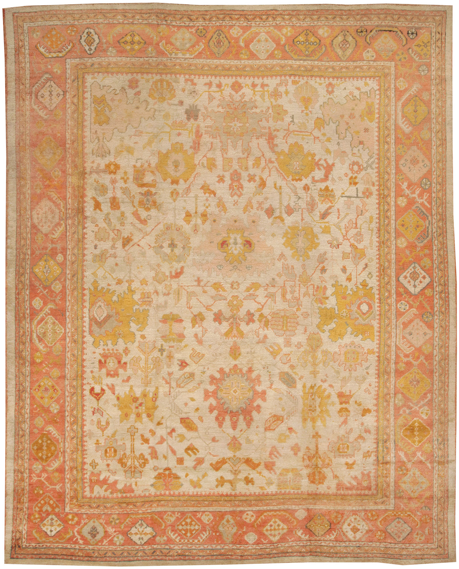 Great ... And Delicate Vines In Shades Of Terracotta, Gold, And Mauve Unfolds  With Consummate Grace Across An Ivory Field On This Exquisite Antique Oushak .