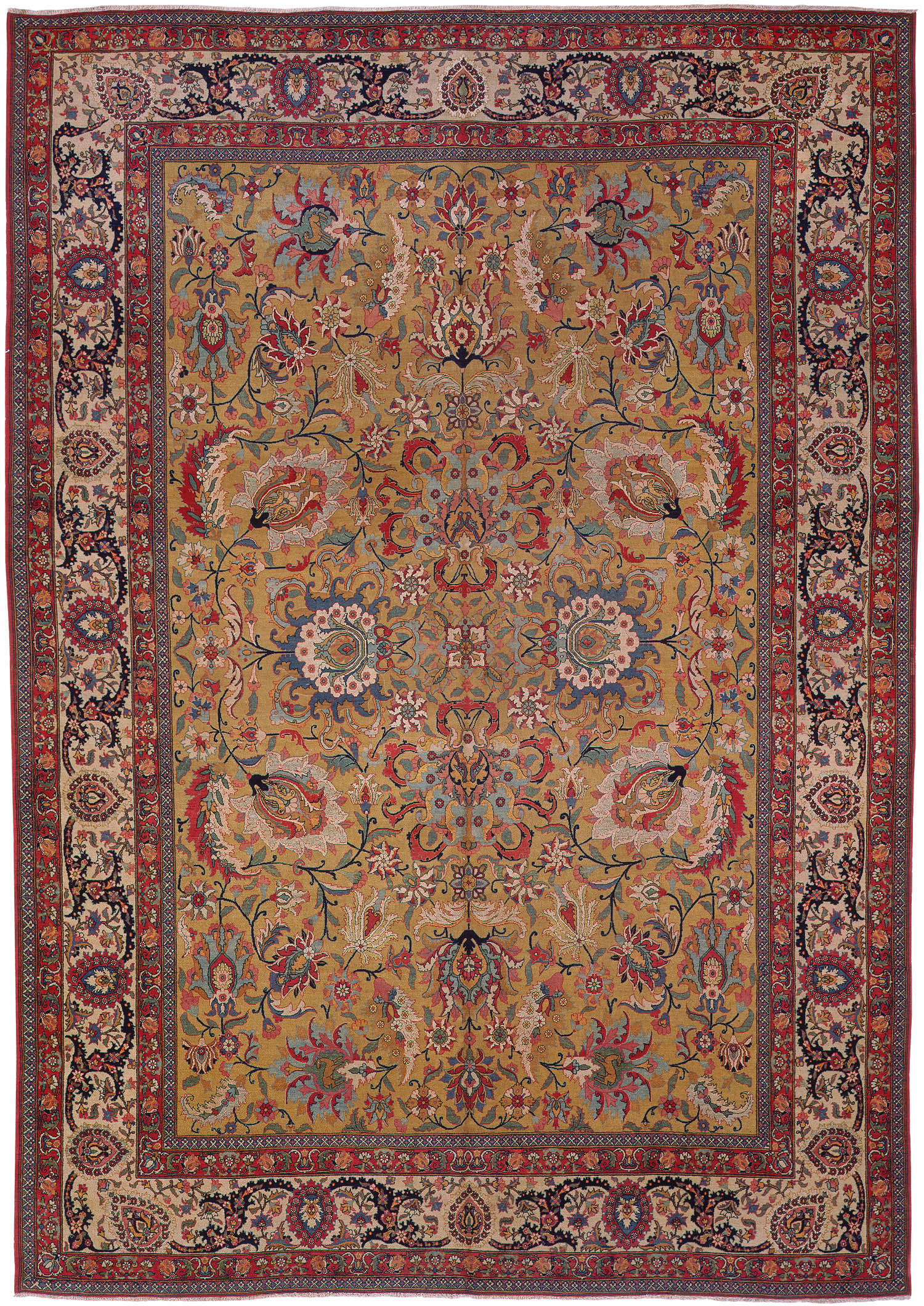 Antique Silk And Wool Tehran Persian Rugs 3214 For Sale