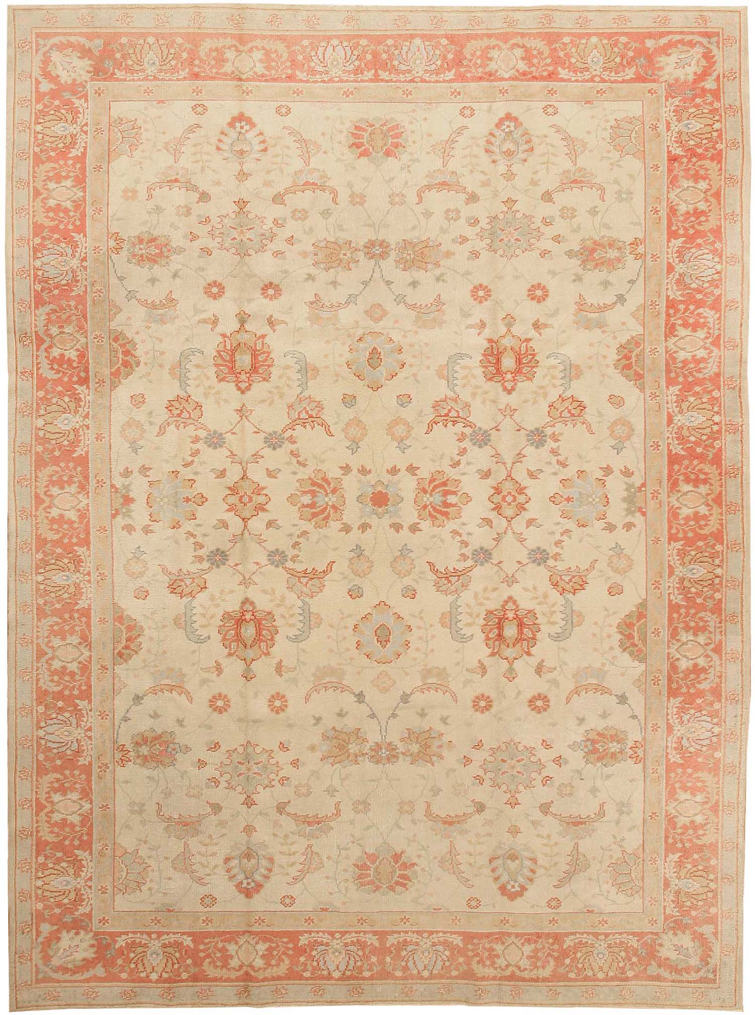 Delightful Woven Over An Elegant Ivory Field, This Extraordinary Carpet Features  Arching Herati Leaves And An All Over Arabesque With Accents In Subtle  Powder Blue And ...