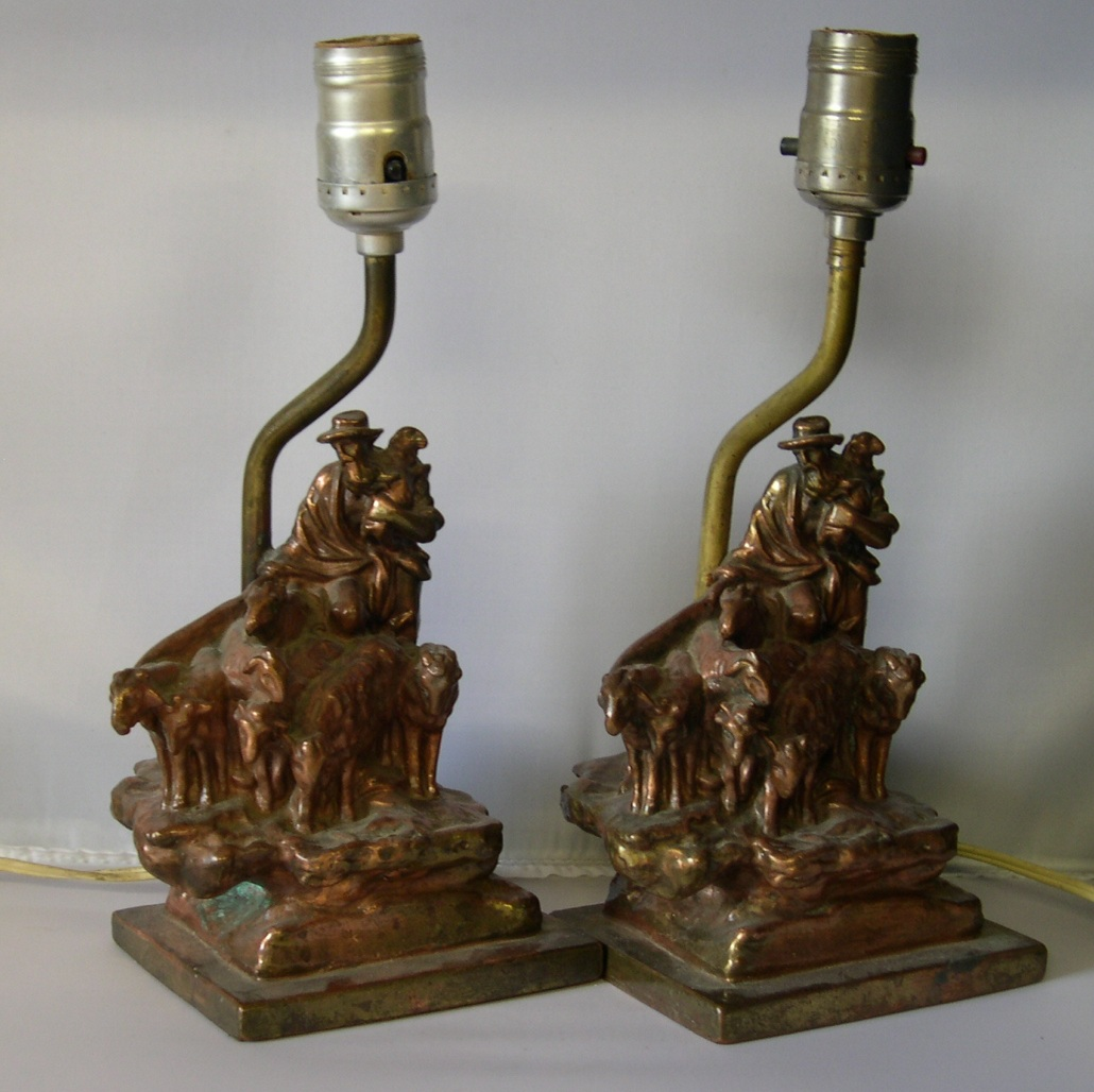 antique victorian copper shepherd sheep table lamps for sale. Black Bedroom Furniture Sets. Home Design Ideas