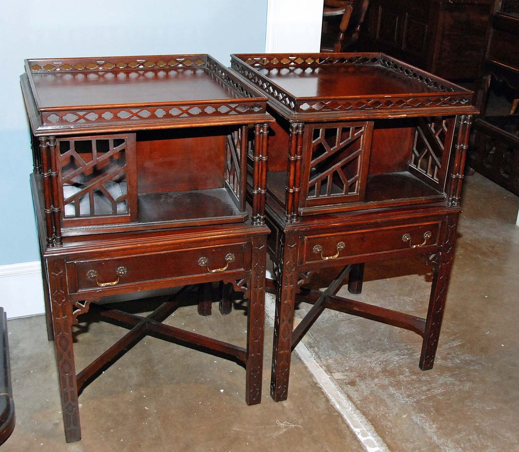 Pair of revolving bookcase end tables item id for Revolving end table