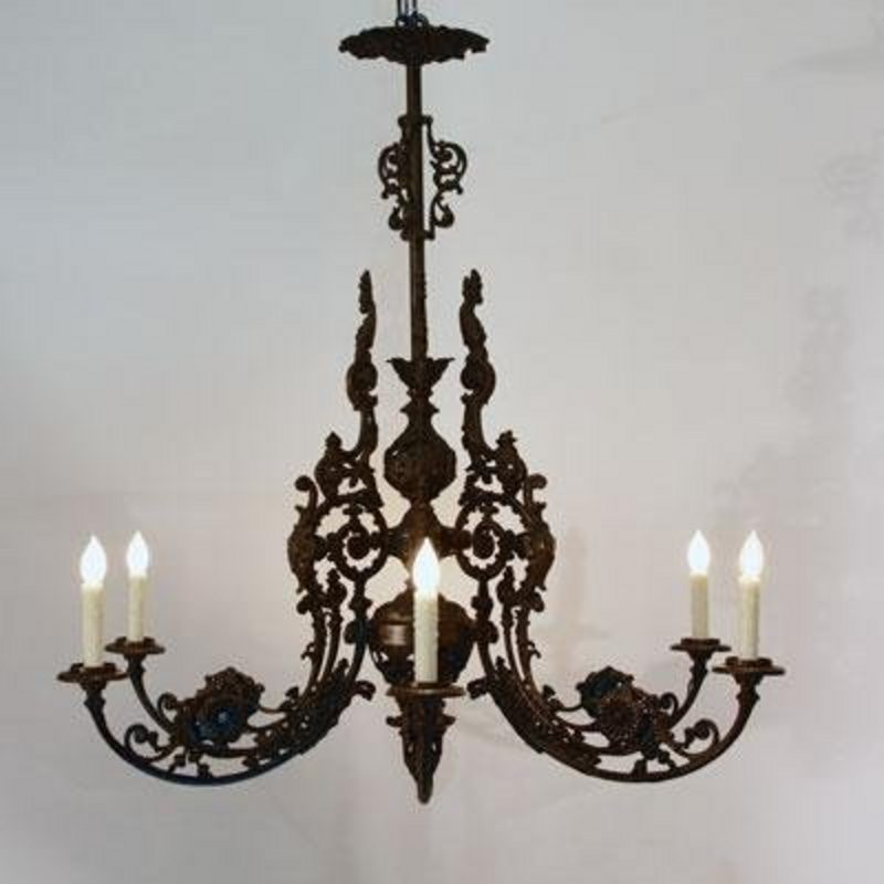 Victorian Cast Iron Chandelier H For Sale