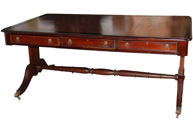 English Sheraton Style Mahogany Library Table With Leather