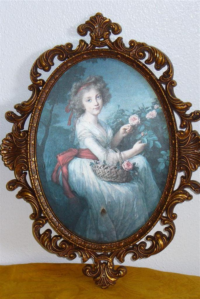 Two Victorian Silk Screen Portraits Frames Hand Carved For Sale ...