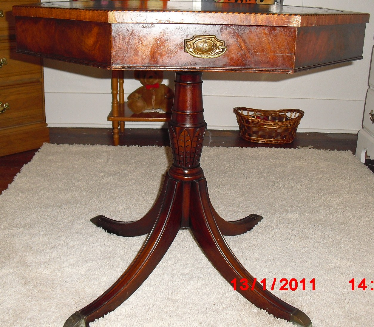 - Weiman Octogan Leather Top Table For Sale Antiques.com Classifieds