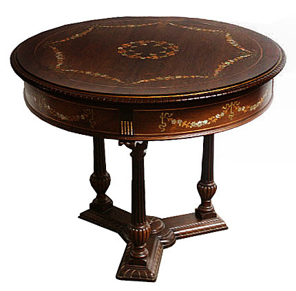 beautiful round table with mother of pearl inlay for sale classifieds. Black Bedroom Furniture Sets. Home Design Ideas