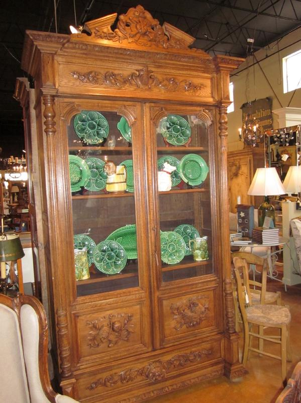 French Oak Bookcase With Glass Doors And One Bottom Drawer Removable Pediment H 7 9 X W 55 D 20 12 Circa 1890 Antique Furniture