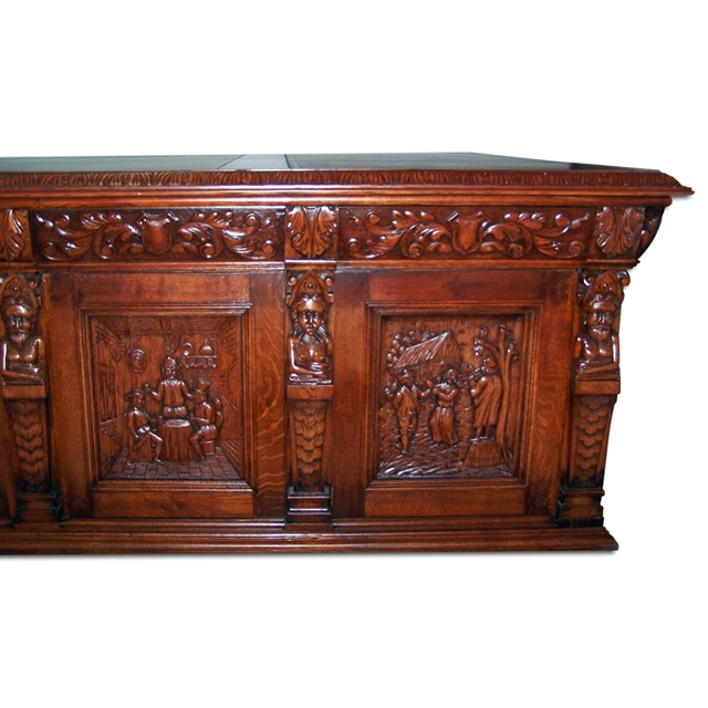 Monumental Carved Figural Oak Executive Desk - For Sale - Monumental Carved Figural Oak Executive Desk For Sale Antiques.com