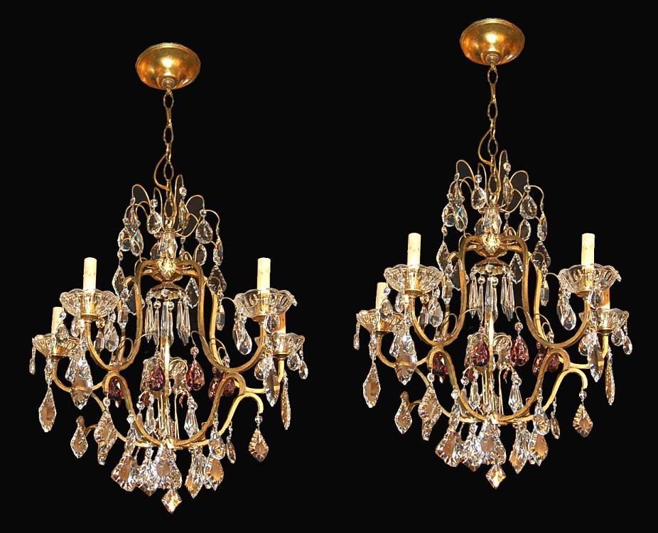 Pair of French Crystal Chandeliers For Sale