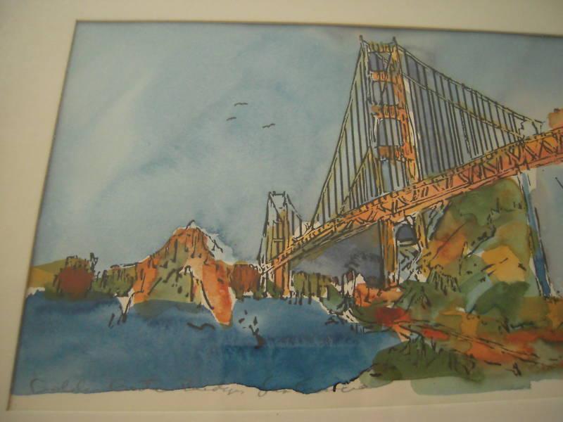 Original Watercolor Golden Gate Bridge Signed Schendel For