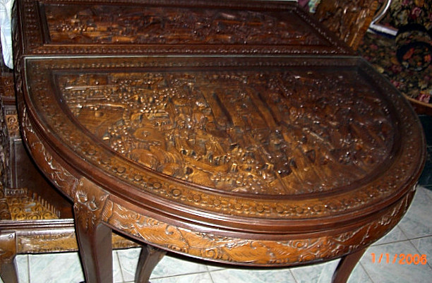 Carved Antique Oriental Dining Table 8 Chairs W Dragons W Macthing